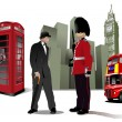 Few London images on city background. Vector illustration — Vector de stock
