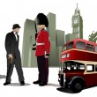 Few London images on city background. Vector illustration — 图库矢量图片