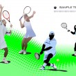 Four Tennis players. Vector illustration — Stock Vector