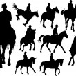 Horse  rider silhouettes. Colored Vector illustration for design — Stock Vector