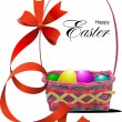 Basket with Easter eggs. Vector illustration — Stok Vektör