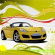 Green and Yellow grunge background with cabriolet image. Vector — Stock Vector