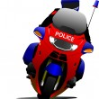 Policeman on police motorcycle on the road. Vector illustration — Stock Vector