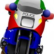 Policeman on police motorcycle on the road. Vector illustration — Vettoriali Stock