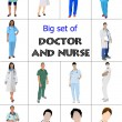 Stock Vector: Big set of Medical doctors and nurse. Vector illustration