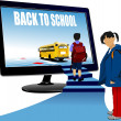 Постер, плакат: School boy and school girl upstairs to school bus Back to scho