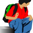 School boy is going to school. Back to school. Vector illustrati — Stock Vector