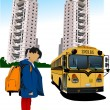Stock Vector: Dormitory and school bus. School girl. Back to school. Vector il