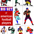 Royalty-Free Stock Vector Image: Big set of American football player s silhouettes in action. Vec