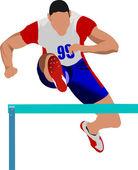 Man running hurdles. Vector illustartion — Stock Vector