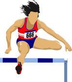 Woman running hurdles. Vector illustartion — Stock Vector