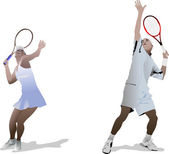 Man and woman Tennis players — Stock Vector