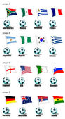 ícones equipes copa do mundo em 2010 de acordo com grupos. grou — Vetorial Stock