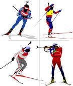 Four biathlon runner colored silhouettes. Vector illustration — Stock Vector