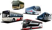 пять городских автобусов. туристический автобус. векторные иллюстрации — Cтоковый вектор