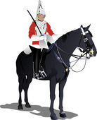 Vector image of London guard on a horse isolated on white — Stock Vector