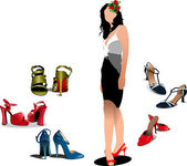 Young Woman with 5 pair of shoes. Vector illustration — Stock Vector