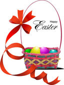 Basket with Easter eggs. Vector illustration — Stock Vector
