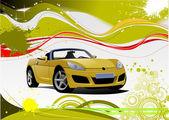 Fond grunge jaune et vert avec image de cabriolet. vector — Vecteur