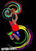 Poster of Basketball player. Colored Vector illustration for des — Stock Vector