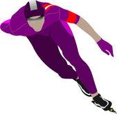 Speed skating. Vector illustration — Stock Vector