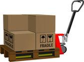 промышленный вилочный погрузчик с нагрузкой коробки — Cтоковый вектор