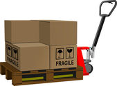 Industrial forklift with a load of the boxes — Stockvector