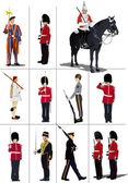 Big set of the few kinds guards. Vector illustration — Stock Vector