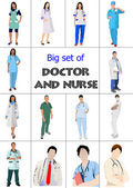 Big set of Medical doctors and nurse. Vector illustration — Stock Vector