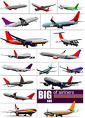 Big set 0f Airliners. Vector illustration — Stock Vector
