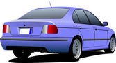 Blue sedan car on the road. Vector illustration — Stock vektor