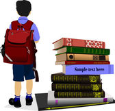 Schoolboy and column books. Vector illustration — Stock Vector