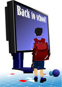 Schoolboy going to school.. Back to school. Monitor and books. — Stock Vector