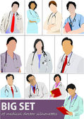 Big set of Medical doctor silhouettes with stethoscope. Vector i — Stock Vector