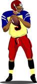 Amerikaans voetbal speler s silhouetten in actie. vector afb — Stockvector