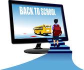 Schoolboy upstairs to school bus. Back to school. Vector illustr — Stock Vector