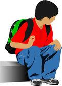 School boy is going to school. Back to school. Vector illustrati — Stock Vector
