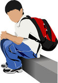 School boy is going to school. Back to school. Vector illustrati — Stockvector