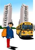 Dormitory and school bus. School girl. Back to school. Vector il — Stock Vector