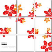 Vector Illustration geometrical mosaic pattern with flower image — Stock Vector