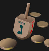 Dreidel as element of Hanukkah festival. Vector — Stock Vector