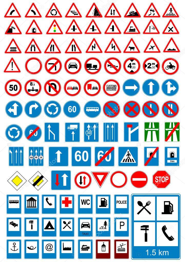 道路标志图标.交通标志.矢量插画