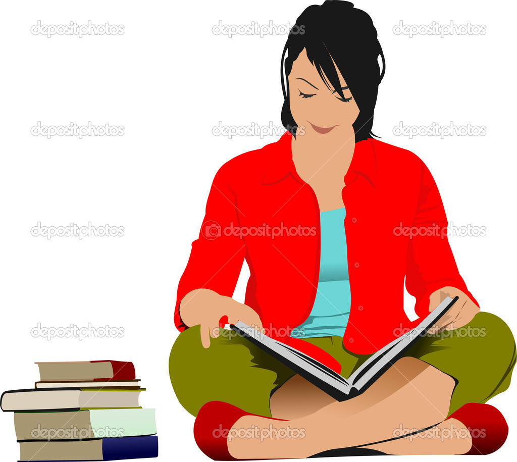 Woman reading book. Vector illustration — Stock Vector ...
