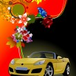 Floral background with cabriolet car image — Stock Vector