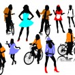 Twelve woman silhouettes. Vector illustration - Vettoriali Stock