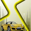 Hi-tech yellow background with car image. Vector illustration - Stockvektor