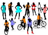 Doce siluetas de mujer. ilustración vectorial — Vector de stock