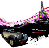 Old car with Paris image background. Vector illustration — Stock Vector