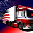 Colored Vector illustration of truck with American flag image on — Stock Vector