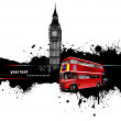 Grunge banner with London and bus images. Vector illustration — Imagens vectoriais em stock